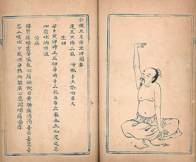 Starý tisk s návodem, jak cvičit Qi Gong