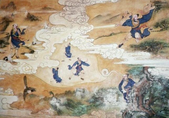 Legenda o vzniku Tai Ji Quan: Chan San-feng pozoruje boj hada s jeřábem.